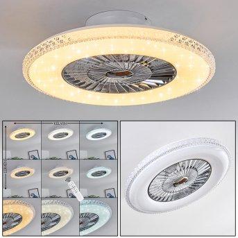 Piacenza wentylator sufitowy LED Chrom, Biały, 1-punktowy, Zdalne sterowanie