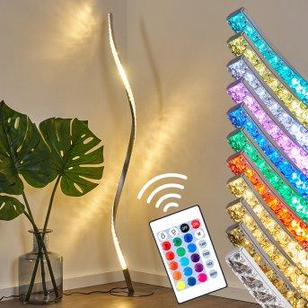 Saginaw Lampa Stojąca LED Nikiel matowy, 1-punktowy, Zdalne sterowanie, Zmieniacz kolorów