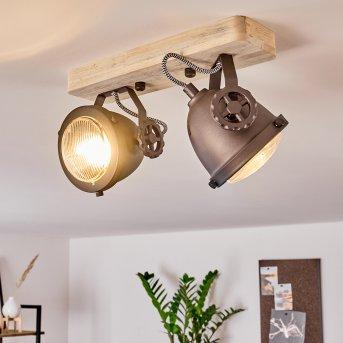 Herford Lampa Sufitowa Czarny, Brązowy, Ciemne drewno, 2-punktowe