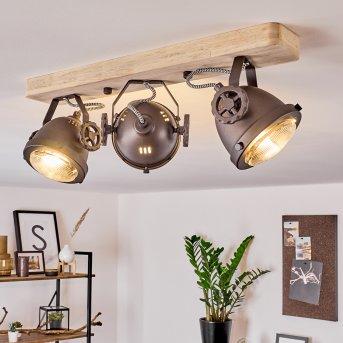 Herford Lampa Sufitowa Miedź, Ciemne drewno, 3-punktowe