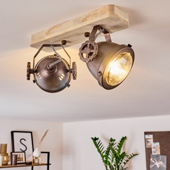 Herford Lampa Sufitowa Miedź, Ciemne drewno, 2-punktowe