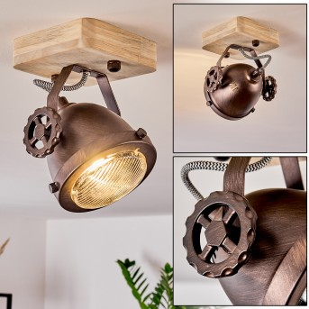 Herford Lampa Sufitowa Miedź, Ciemne drewno, 1-punktowy