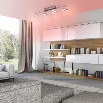 Leuchten-Direkt LOLAsmart-SABI Lampa Sufitowa LED Nikiel matowy, 4-punktowe, Zdalne sterowanie, Zmieniacz kolorów