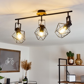 Maracambo Lampa Sufitowa Czarny, Ciemne drewno, 3-punktowe