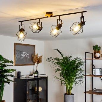 Maracambo Lampa Sufitowa Czarny, Ciemne drewno, 4-punktowe