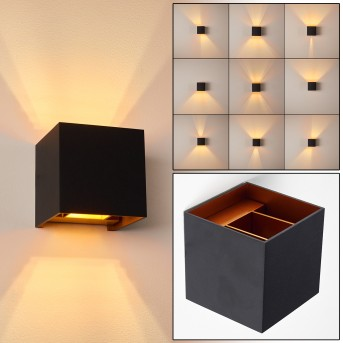 Badajoz Lampa ścienna LED Czarny, Miedź, 1-punktowy