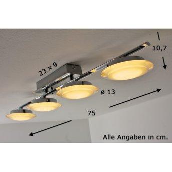 Valerie lampy sufitowe listwy LED Chrom, 4-punktowe