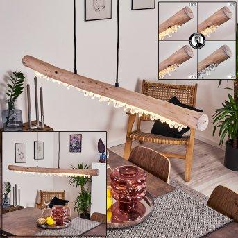 Rodeche Lampa Wisząca LED Czarny, Jasne drewno, 1-punktowy