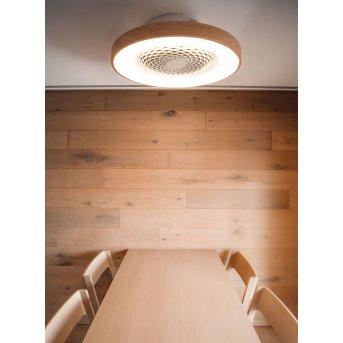 Mantra TIBET wentylator sufitowy LED Biały, Ciemne drewno, 1-punktowy, Zdalne sterowanie