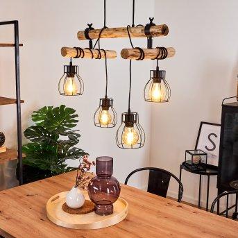 Gondo Lampa Wisząca Czarny, Ciemne drewno, 4-punktowe