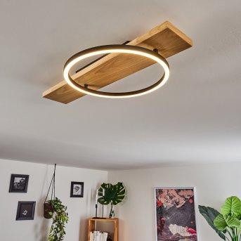 Pompu Lampa Sufitowa LED Czarny, Jasne drewno, 1-punktowy