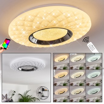 Roseto Lampa Sufitowa LED Chrom, Biały, Przezroczysty, 1-punktowy, Zdalne sterowanie