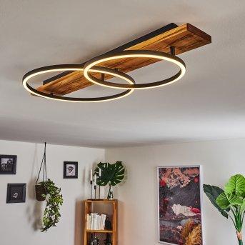 Pompu Lampa Sufitowa LED Czarny, Ciemne drewno, 2-punktowe