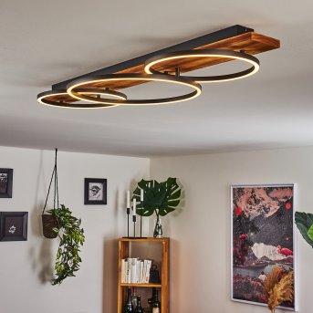 Pompu Lampa Sufitowa LED Czarny, Ciemne drewno, 3-punktowe