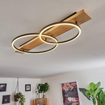 Pompu Lampa Sufitowa LED Czarny, Jasne drewno, 2-punktowe