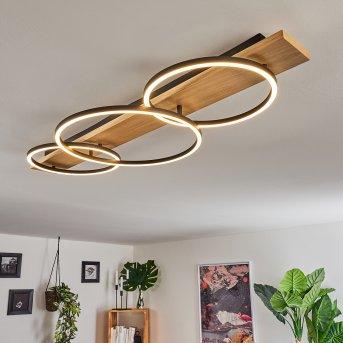 Pompu Lampa Sufitowa LED Czarny, Jasne drewno, 3-punktowe