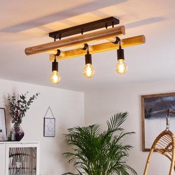Yaak Lampa Sufitowa Czarny, Jasne drewno, 3-punktowe