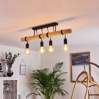 Yaak Lampa Sufitowa Czarny, Jasne drewno, 4-punktowe