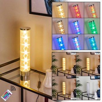 Hatara lampka nocna LED Chrom, 1-punktowy, Zdalne sterowanie, Zmieniacz kolorów
