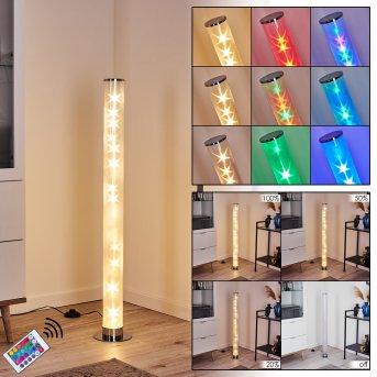 Hatara Lampa Stojąca LED Chrom, 1-punktowy, Zdalne sterowanie, Zmieniacz kolorów