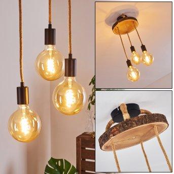 Garland Lampa Sufitowa Czarny, Ciemne drewno, 3-punktowe