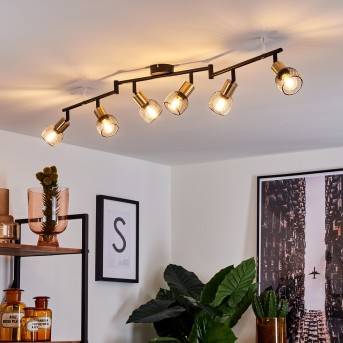 Cairns Lampa Sufitowa Czarny, Złoty, 6-punktowe