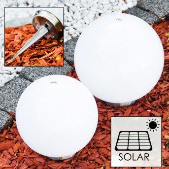 Komplet kul solarnych LED Stal nierdzewna, 2-punktowe