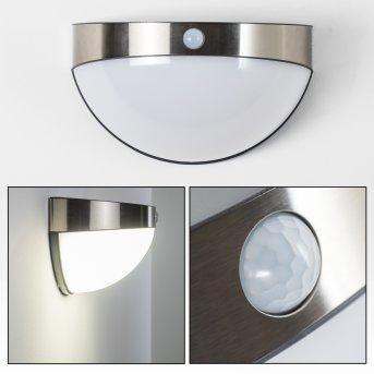 Pori Zewnętrzny kinkiet LED Chrom, 1-punktowy, Czujnik ruchu