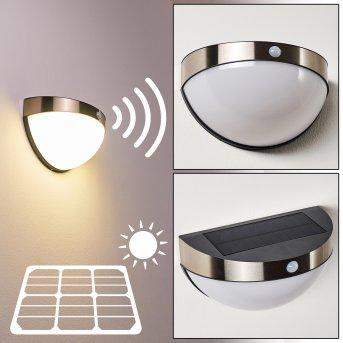 Basra Lampa solarna LED Chrom, 1-punktowy, Czujnik ruchu