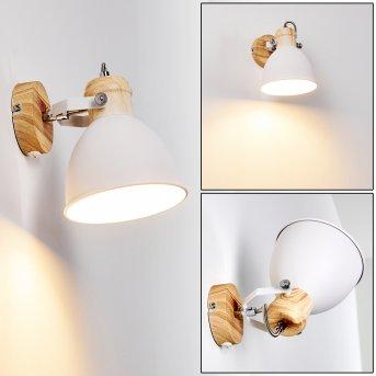Banjul Lampa ścienna Biały, Jasne drewno, 1-punktowy