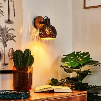 Imana Lampa ścienna Czarny, Ciemne drewno, 1-punktowy