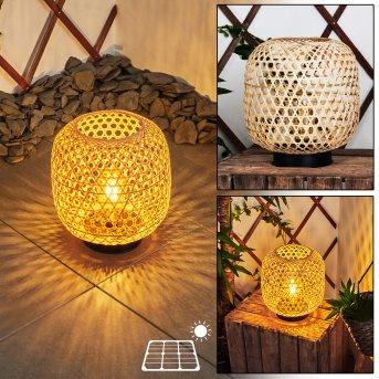 Conneaut Lampa solarna LED Czarny, Jasne drewno, 1-punktowy