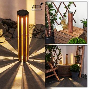 Hankinson Lampa solarna LED Czarny, Miedź, Ciemne drewno, 1-punktowy