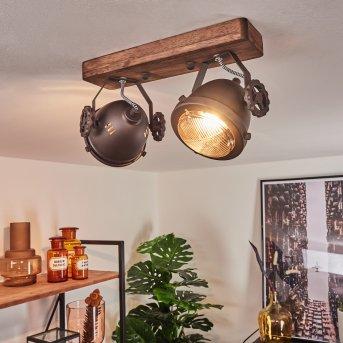 Herford Lampa Sufitowa Brązowy, Ciemne drewno, 2-punktowe