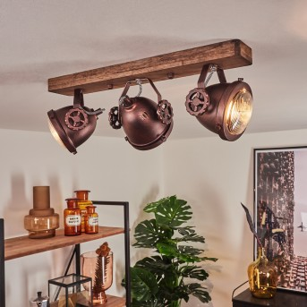 Herford Lampa Sufitowa Rudy, Ciemne drewno, 3-punktowe