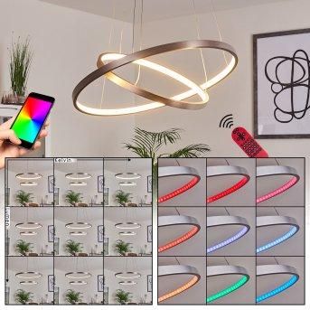 Canisteo Lampa Wisząca LED Srebrny, 2-punktowe, Zdalne sterowanie, Zmieniacz kolorów