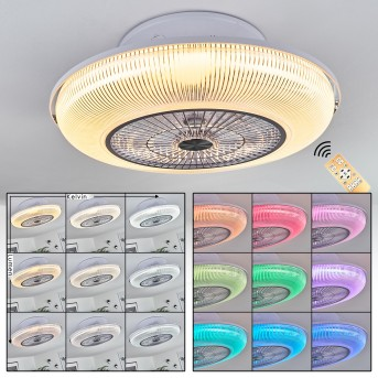 Riccione wentylator sufitowy LED Biały, 1-punktowy, Zdalne sterowanie, Zmieniacz kolorów