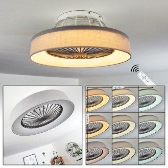 Moli wentylator sufitowy LED Siwy, Biały, 1-punktowy, Zdalne sterowanie