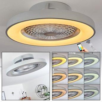 Penon wentylator sufitowy LED Srebrny, 1-punktowy, Zdalne sterowanie