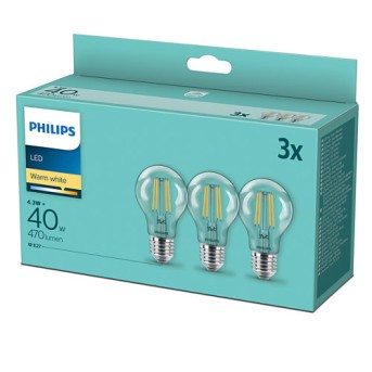 Philips 3x Set LED E27 4,3 Wat 2700 Kelwinów 470 Lumenów