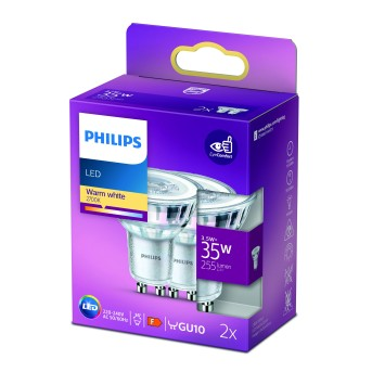 Philips 2x LED GU10 3,5 Wat 2700 Kelwinów 255 Lumenów