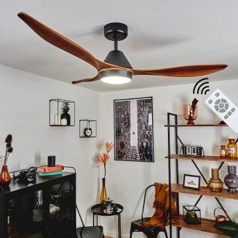 Follseland wentylator sufitowy LED Czarny, Ciemnobrązowy, Wygląd drewna, 1-punktowy, Zdalne sterowanie