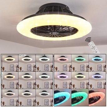 Pireaus wentylator sufitowy LED Czarny, 1-punktowy, Zdalne sterowanie, Zmieniacz kolorów