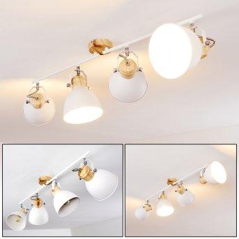 Banjul Lampa Sufitowa Biały, Jasne drewno, 4-punktowe