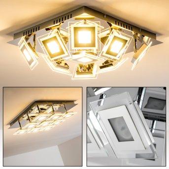 Cerreto lampa sufitowa LED Chrom, 9-punktowe