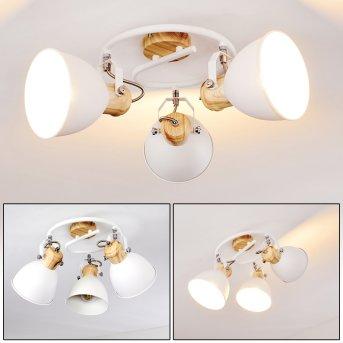 Banjul Lampa Sufitowa Biały, Jasne drewno, 3-punktowe