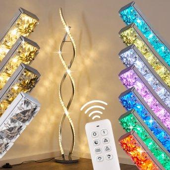 Lampa Stojąca Assuan LED Chrom, 1-punktowy, Zdalne sterowanie, Zmieniacz kolorów