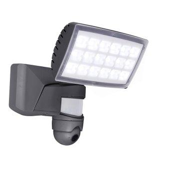Zewnętrzny kinkiet Lutec PERI CAM LED Antracytowy, 1-punktowy, Czujnik ruchu