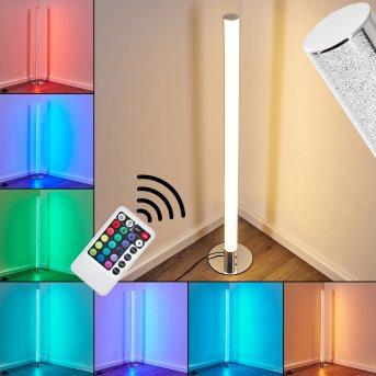 Flaut Lampa Stojąca LED Chrom, 1-punktowy, Zdalne sterowanie, Zmieniacz kolorów