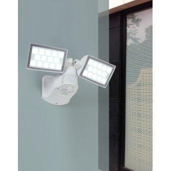 Lutec PERI Zewnętrzny reflektor ścienny LED Biały, 2-punktowe, Czujnik ruchu